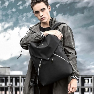 Men's Fashion Solid Color Trendy Brand Zipper Design Large Capacity Waterproof Backpack