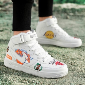 Couple's Fashion NBA Team Logo Graffiti Wear-Resistant Breathable Velcro Design Sport Shoes