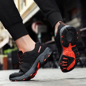 Men's Fashion Casual Simple Color Stitching Breathable Flying Woven Wear-Resistant Outdoor Hiking Shoes