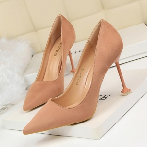 Korean Women's Fashion Simple Solid Color Shallow Mouth Suede Thin High Heel Shoes