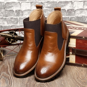 Men's Fashion Large Size Solid Color Round Head Anti Slip Wear-Resistant Tooling Martin Shoes