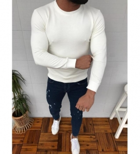 Men's Fashion Trendy Round Neck Solid Color Casual Long Sleeve Sweater