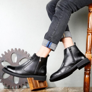 Men's Fashion Trendy Simple Black Color Round Head Side Zipper Design Martin Boots