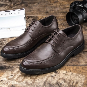Men's Fashion Breathable Trendy Solid Color Anti-Slip Bullock Patent Leather Shoes