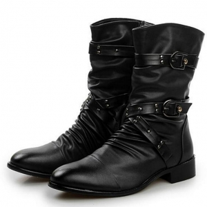 Korean Men's Fashion Pointed Head Solid Color Middle Tube Martin Boots