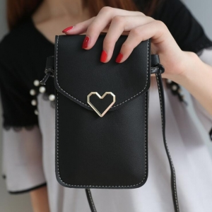 Women's Fashion Simple Metal Love Shape Decoration Solid Color Small Bag