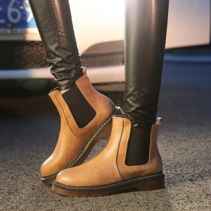 Europe Women's Fashion Round Head Solid Color Thick Heel Waterproof Breathable Martin Boots Shoes