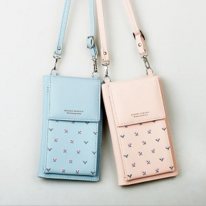 Korean Women's Fashion Flower Print Solid Color Mobile Phone Bag