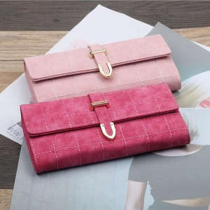 Women's Fashion Embroidery Plaid Design Solid Color Tri-Fold Wallet