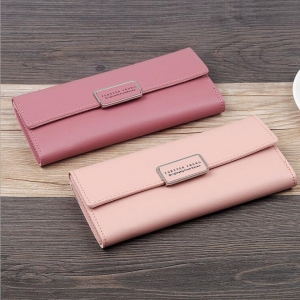 Korean Women's Fashion Simple Solid Color Tri-Fold Multi-Card Position Wallet