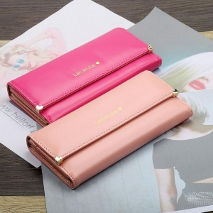 Korean Women's Fashion Solid Color Simple Logo Print Tri-Fold Wallet