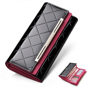 Europe Women's Fashion Plaid Pattern Design Solid Color Metal Decoration Wallet