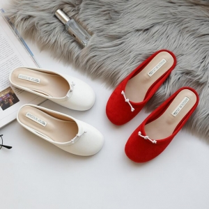 Korean Women's Fashion Round Head Bow Decoration Solid Color Wear-Resistant Slipper Shoes