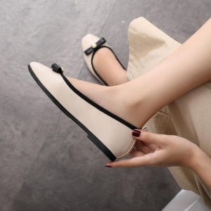 Korean Women's Fashion Bow Pearl Decoration Square Head Shallow Mouth Comfortable Flat Shoes