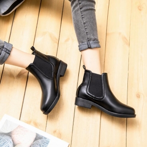 Europe Women's Fashion Round Head Solid Color Thick Heel Martin Boots