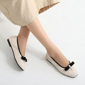 Korean Women's Fashion Bow Decoration Solid Color Soft Flat Shoes