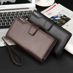 Men's Fashion Solid Color Large Capacity Tri-Fold Design Wallet