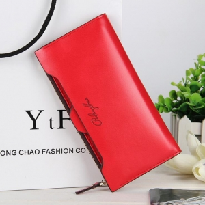 Korean Women's Fashion Simple Solid Color Logo Decoration Multi-Function Wallet