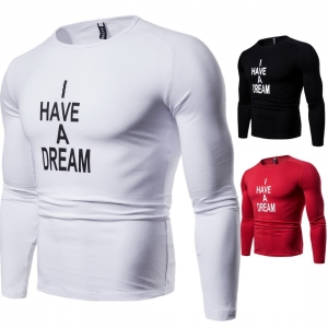 Europe Men's Fashion Solid Color Trendy Letter Word Print Round Neck Long Sleeve T-Shirt