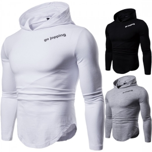 Europe Men's Fashion Solid Color Simple Word Print Long Sleeve Hooded Shirt