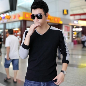 Men's Fashion Color Stitching Simple V-Neck Ribbed Cuffs Long Sleeve T-Shirt