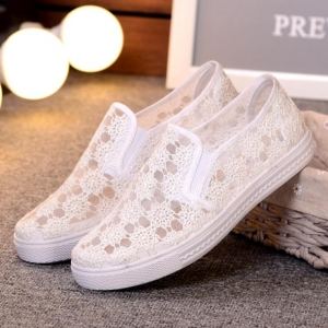 Women's Fashion Solid Color Trendy Mesh Breathable Casual Canvas Shoes
