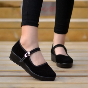 Women's Fashion Solid Color Round Head Breathable Buckle Design Shoes