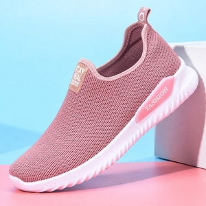 Women's Fashion Solid Color Breathable Casual Sport Running Mesh Shoes