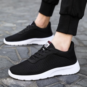 Couple's Fashion Solid Color Round Head Breathable Wear-Resistant Mesh Shoes