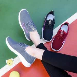 Korean Women's Fashion Solid Color Trendy Word Embroidery Breathable Non-Slip Sport Mesh Shoes