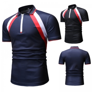 Europe Men's Fashion Simple Color Stitching Casual Short Sleeve POLO Shirt