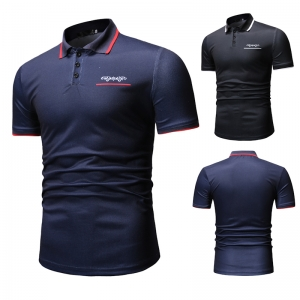 Men's Fashion Solid Color Simple Pattern Print Short Sleeve POLO Shirt