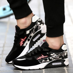 Men's Fashion Camouflage Stitching Round Head Breathable Mesh Sport Running Shoes