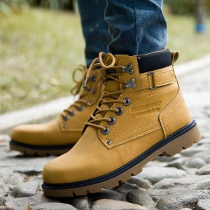 Europe Men's Fashion Large Size Solid Color Round Head Breathable Outdoor Hiking Martin Boots