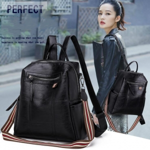 Women's Fashion College Style Suture Decoration Simple Solid Color Backpack