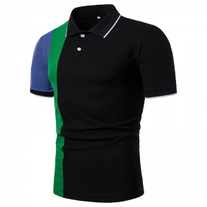Men's Fashion Simple Color Stitching Short Sleeve POLO Collar Shirt