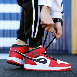 Men's Fashion Hip-Hop Style Basketball Pattern Decoration Color Stitching Shoes