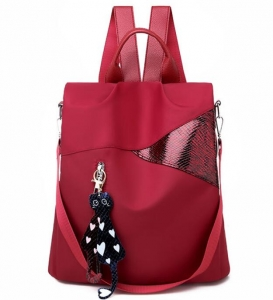 Korean Women's Fashion College Style Cat Design Pendant Solid Color Backpack