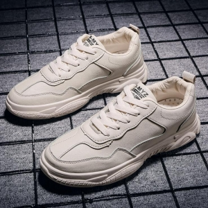 Korean Men's Fashion Simple Solid Color Round Head Casual Sport Running Shoes