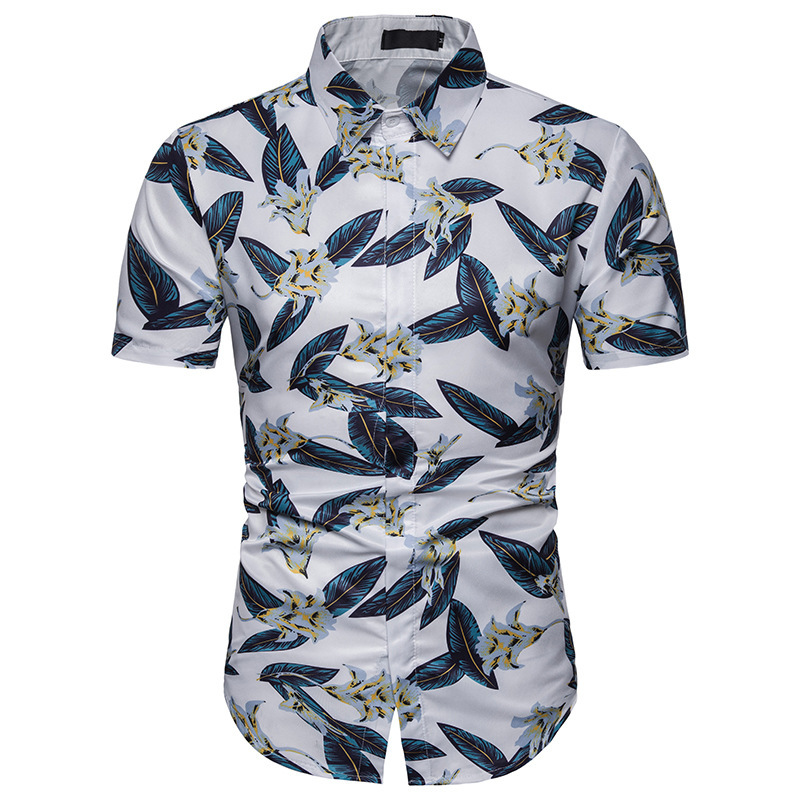 Men's Fashion Flower Leaves Pattern 3D Print Casual ...