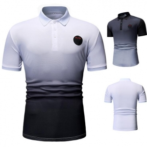 Men's Fashion Color Stitching Gradient Design Casual Short Sleeve POLO Shirt