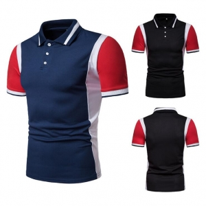 Europe Men's Fashion Color Stitching Loose Short Sleeve Ribbed Collar POLO Shirt