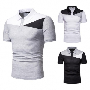 Europe Men's Fashion Color Stitching Casual Looses Short Sleeve POLO T-Shirt