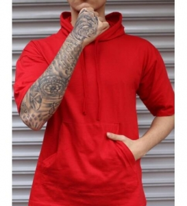 Europe Men's Fashion Solid Color Round Neck Tether Short Sleeve Hooded Sweater