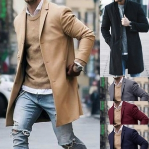 Men's Fashion Simple Solid Color Pocket Design Long Sleeve Jacket