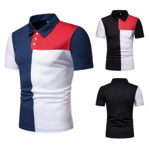 Europe Men's Fashion Color Stitching Loose Short Sleeve POLO T-Shirt