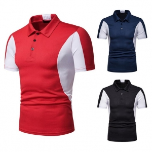 Europe Men's Fashion Color Stitching Loose Short Sleeve Collar POLO T-Shirt