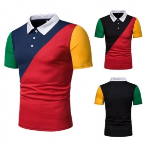 Europe Men's Fashion Four Color Stitching Loose Short Sleeve POLO T-Shirt
