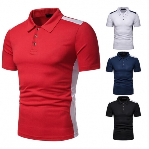 Men's Fashion Color Stitching Loose Large Size Short Sleeve POLO T-Shirt