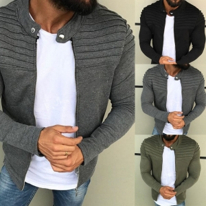 Europe Men's Fashion Solid Color Striped Pleated Stitching Long Sleeve Cardigan Sweater